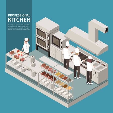 Professional kitchen equipment appliances isometric composition with cooks preparing food using deep fryer cutting ingredients vector illustration  Illustration
