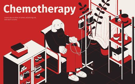 Chemotherapy isometric background with editable text and indoor composition with patient and drop counter with medication vector illustration