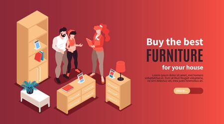 Furniture store horizontal banner with advertising of best exemplars for house isometric vector illustration
