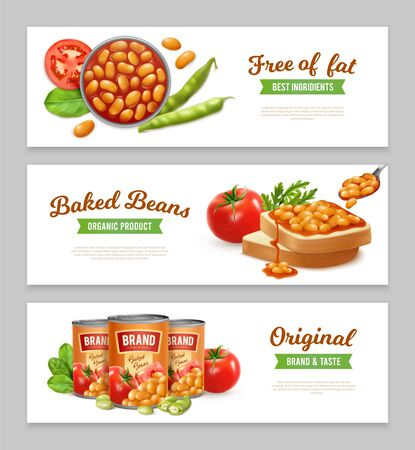 Horizontal banners set with organic tinned baked beans realistic isolated vector illustration
