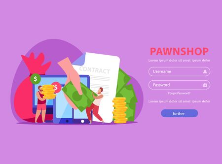 Pawnshop flat background with login page clickable button and doodle images of people contract and money vector illustration Иллюстрация