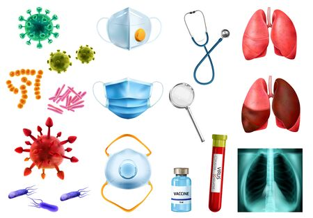 Realistic world pneumonia day icon set with bacteria masks vaccine virus test tube lungs vector illustration