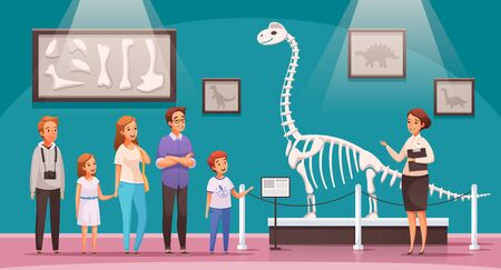 Dinosaurs cartoon composition with view of exhibition hall with dinosaur skeleton bones and characters of visitors vector illustration