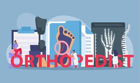 Orthopedics clinic composition with injury treatment symbols flat vector illustration