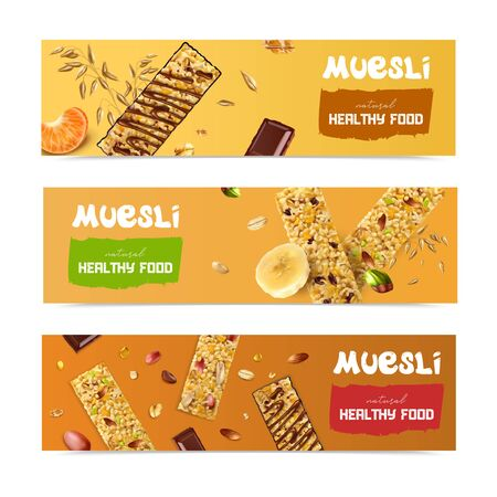 Realistic muesli set of three horizontal banners with biscuit images seeds fruit pieces and editable text vector illustration