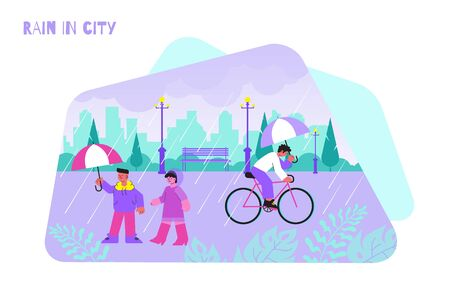 People walking and riding bike with umbrellas under rain flat vector illustration
