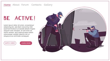 Leisure activities flat landing page with two adult men playing paintball explanatory text and contact information vector illustration