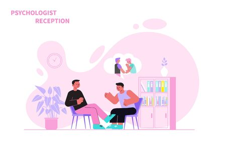 Man telling male psychologist about his problems flat vector illustration