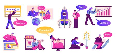 Flat marketing icons set with people starting business promoting giving feedback making plan isolated vector illustration