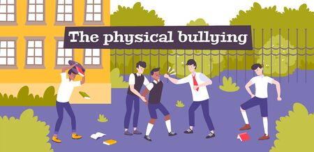 Physical bullying flat composition with school backyard scenery and group of violent children beating their mate vector illustration