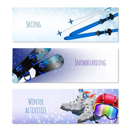 Winter activities isolated horizontal banners with sport equipment for skiing and snowboarding realistic vector illustration