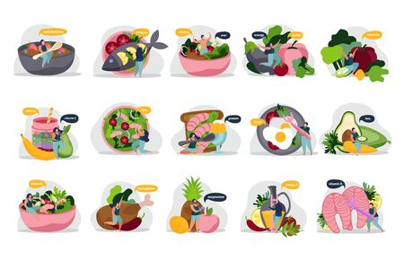 Healthy and super food flat recolor set of isolated icons with people products and thought bubbles vector illustration Vektorové ilustrace