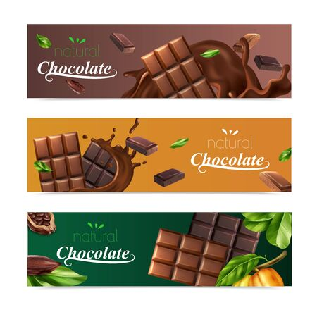 Cocoa horizontal banners set with natural chocolate bars and cocoa beans isolated vector illustration