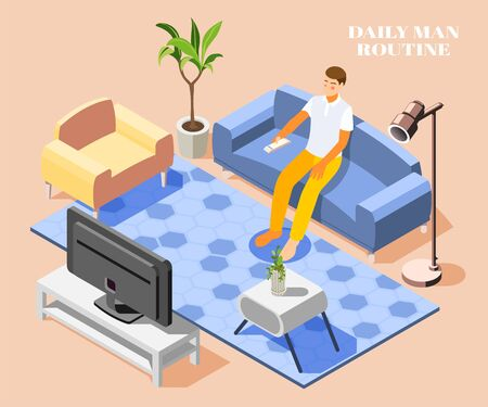 Daily routine background with man watching tv on sofa at home 3d vector illustration