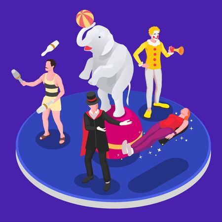 Circus isometric concept with show tent and amusement park vector illustration Illustration