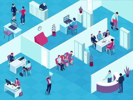 Recruitment agency interior isometric view with reception desk selected applicants waiting for interview employment contract vector illustration