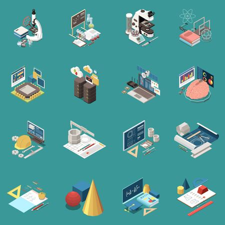 STEM science technology engineering mathematics education concept with real world experience isometric symbols icons set vector illustration   向量圖像