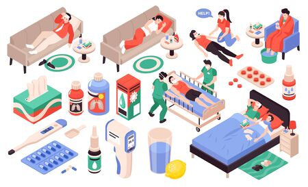 Cold flu viral pneumonia symptoms sick people thermometer pills drops breathing problems headache isometric set vector illustration  イラスト・ベクター素材