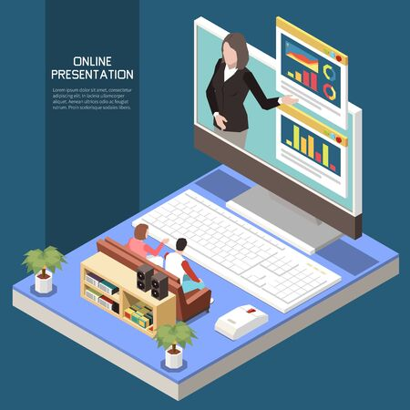 Online presentation concept with modern technology symbols isometric vector illustration