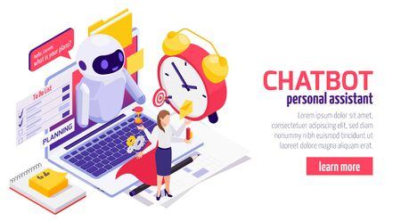 Chatbot messenger isometric web banner landing page design with businesswoman using electronic time planning assistant vector illustration  Ilustração