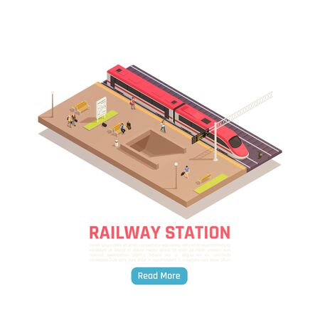 Train railway station isometric background with high speed train platform with text and read more button vector illustration Stockfoto - 147625953