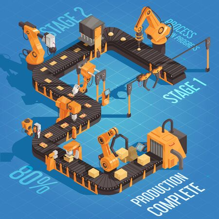 Isometric robot automation production illustration with process in progress stage one two and production complete vector illustration
