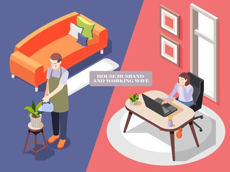 Isometric background with house husband in apron watering flowers and woman working at office 3d isolated vector illustration