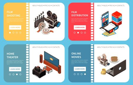 Set of four cinema isometric horizontal banners with compositions of images and clickable learn more buttons vector illustration Ilustración de vector