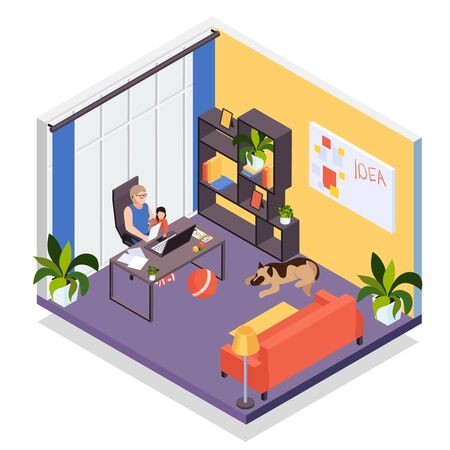 Mother with laptop works remotely from home holding baby on lap isometric living room interior  vector illustration