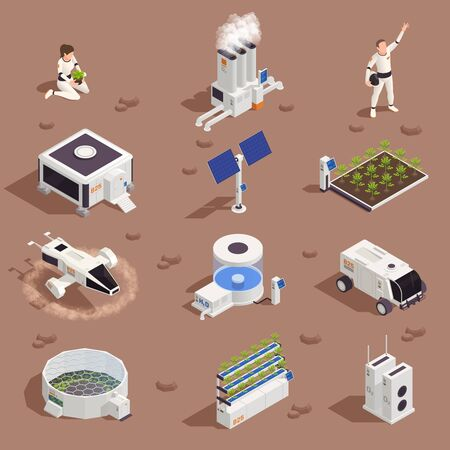Space colonization terraforming isometric set with isolated extraterrestrial structures power plants flower beds people and vehicles vector illustration 向量圖像