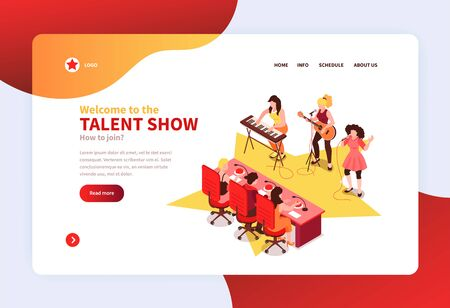 Joint talent show concept isometric   horizontal web banner with rock band contestants performing before judges vector illustration