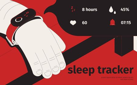 Sleep tracker isometric background with editable text and image of human head with smart watch bracelet vector illustration