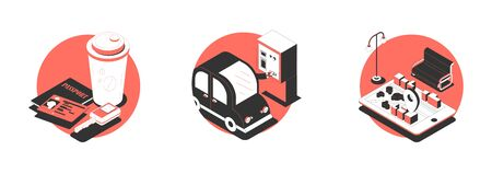 Set with three isolated behind wheel compositions of isometric images documents parking machine and location signs vector illustration