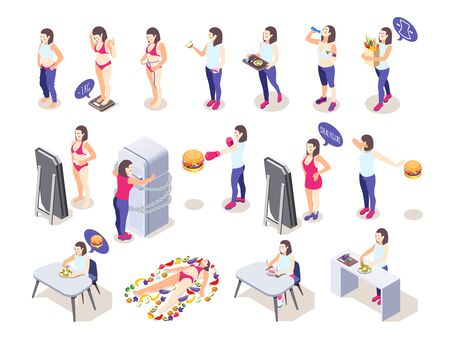 Woman on diet isometric icons collection with female human characters losing and putting on some weight vector illustration Illustration