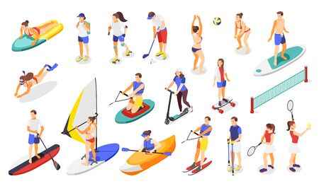 Summer sports and outdoor activities isometric icons with people playing golf tennis volleyball skating vector illustration