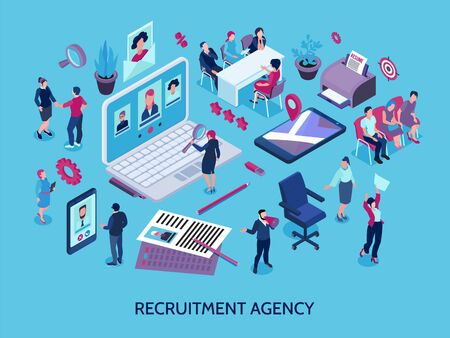 Recruitment agency concept isometric composition with online applicants search magnifier candidates selection interview employment contract vector illustration  Ilustracja