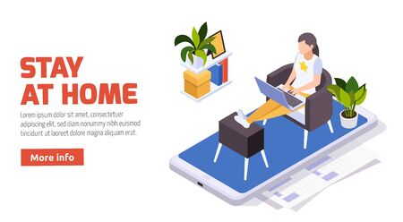 Stay home isometric composition with woman sitting on mobile screen typing on laptop working remotely vector illustration  向量圖像