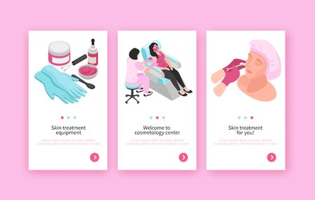 Isometric set of three cosmetologist banners with page switch buttons editable text and medical procedures images vector illustration