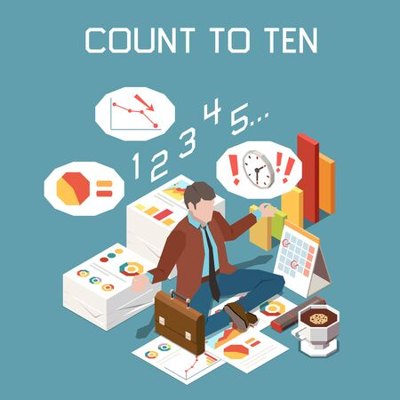 Stress management concept with count to ten strategy symbols isometric vector illustration