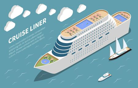 Modern luxurious ocean cruise line ship in coastal waters isometric view sea tours advertising text vector illustration