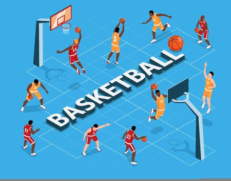 Isometric flowchart with two teams playing basketball on blue background 3d vector illustration Ilustração