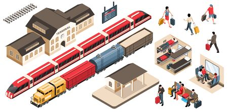 Isometric railway set with isolated images of trains with station buildings train carriage and waiting passengers vector illustration Ilustrace