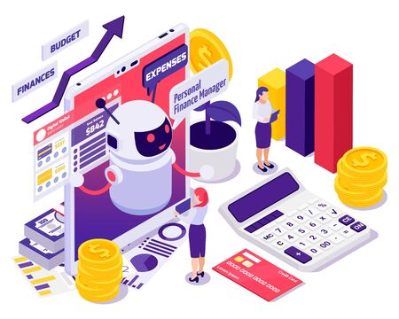 Chatbot messenger banking services isometric composition with personal financial manager providing budget expenses solutions vector illustration