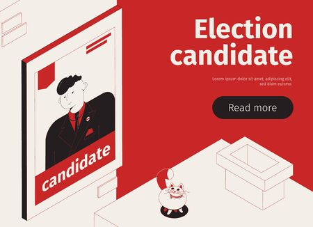 Election candidate horizontal banner with isometric images placard with portrait editable text and read more button vector illustration