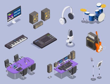 Radio studio equipment icons set with keyboard and guitar isometric isolated vector illustration Иллюстрация