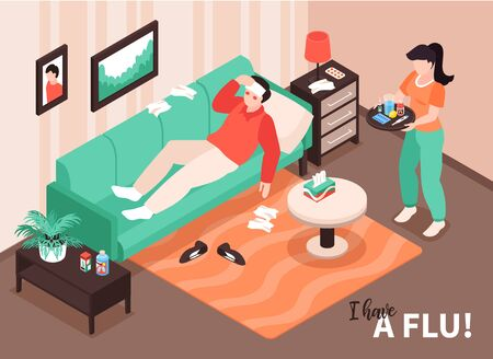 Isometric cold flu virus sick composition with home interior scenery and patient on sofa having temperature vector illustration