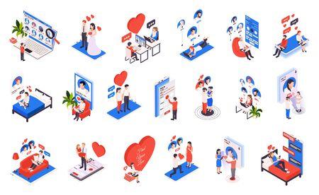 Virtual relationship isometric icons set with  choosing partner online dating heart love proposal wedding isolated vector illustration  Ilustração