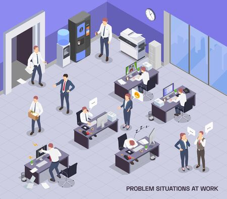 Problem situations at work isometric colored composition with open space and working process vector illustration