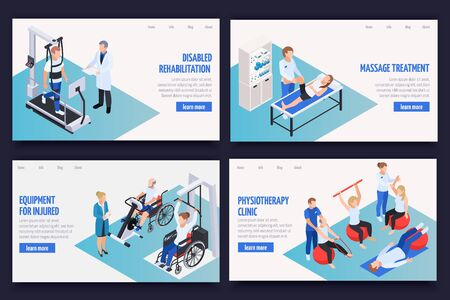 Physiotherapy rehabilitation clinic concept 4 isometric compositions with massage treatment disabled exercises equipment web page vector illustration  Ilustração