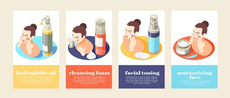 Face and skin care isometric 4x1 set of vertical banners with compositions of text and women vector illustration